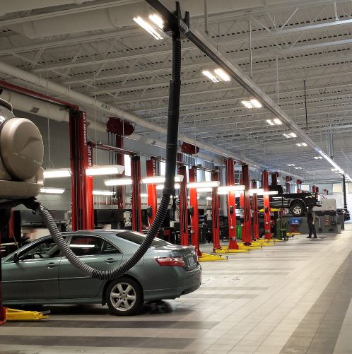 auto shop exhaust rail systems